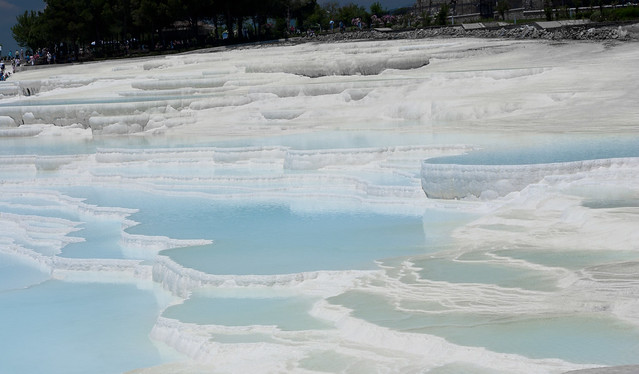 "The pools at the ""cotton Castle"", the calcarian formation of the ancient Hierapolis, at Pamukkale."