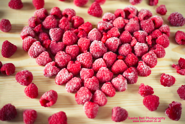 Raspberries in Heart Shape