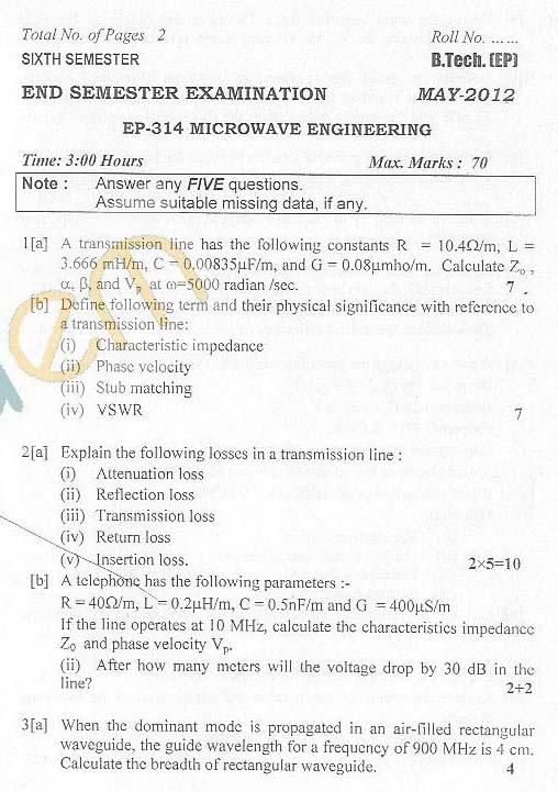 DTU: Question Papers 2012 - 6 Semester - End Sem - EP-314