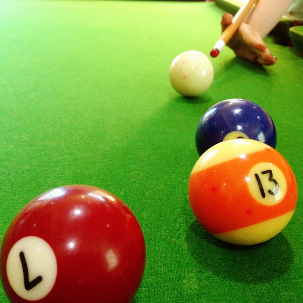 Took the eldest to work today. We played pool and ate potato chips. || #hustle #billiards #unschooling