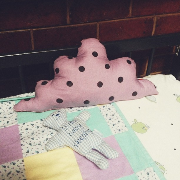 A wonky little cloud cushion I made for the nursery. It's misshapenness makes me laugh. I only swore at my seeing machine about half a dozen times! Time for cloud attempt number 2.