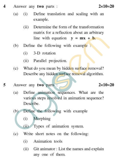 UPTU MCA Question Papers - MCA-406 - Computer Graphics & Animation
