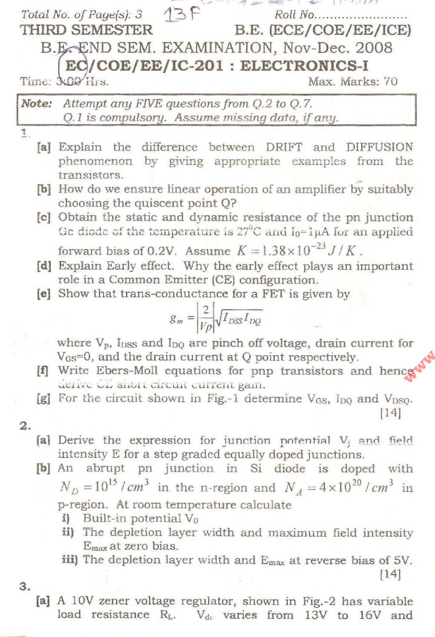 NSIT Question Papers 2008 – 3 Semester - End Sem - EC-COE-EE-IC-201