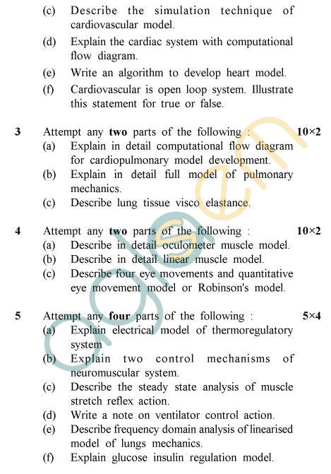 UPTU B.Tech Question Papers - BME-601 - Physiological Control System & Modelling