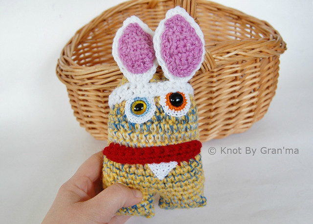Yellow Bunny Monster Doll by Knot By Gran'ma
