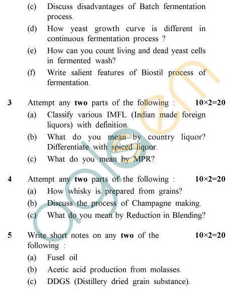 UPTU B.Tech Question Papers -AL-803 - Alcohol Technology