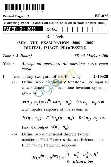 UPTU B.Tech Question Papers -EC-025-Digital Image Processing