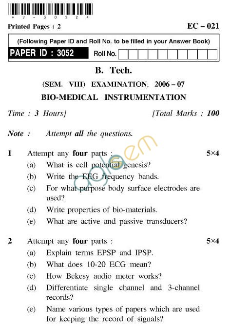 UPTU B.Tech Question Papers - EC-021-Bio-Medical Instrumentation