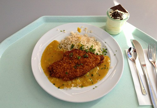 Hähnchenbrust in Knusperpanade mit Currysauce & Reis / Crispy chicken breast with curry sauce & rice