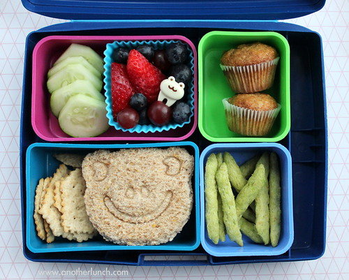 Laptop Lunches with frog face sandwich and mini muffins
