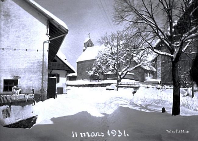 village suisse sous la neige lors de la vague de froid des 10 et 11 mars 1931 météopassion