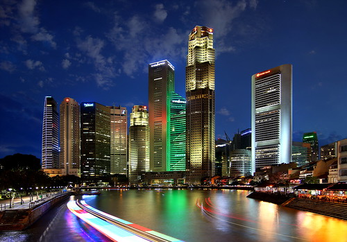 [Free Images] Architecture, City / Town, Large Buildings, Night View, Landscape - Singapore ID:201303262000
