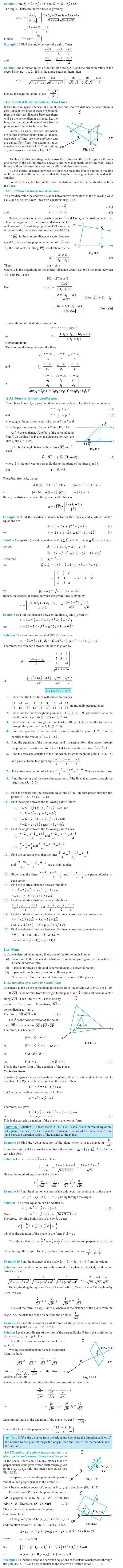 NCERT Class XII Maths Chapter 11 - Three Dimensional Geometry