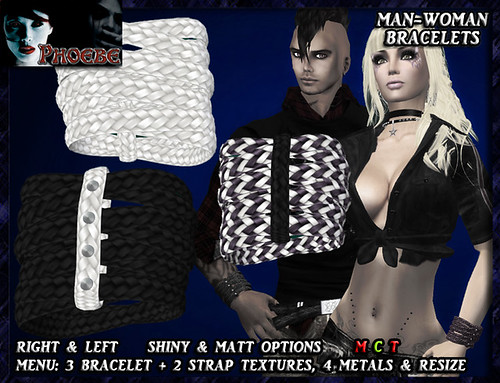 -P- Leather Bracelets ~ Mix Black & White ~ 752X512