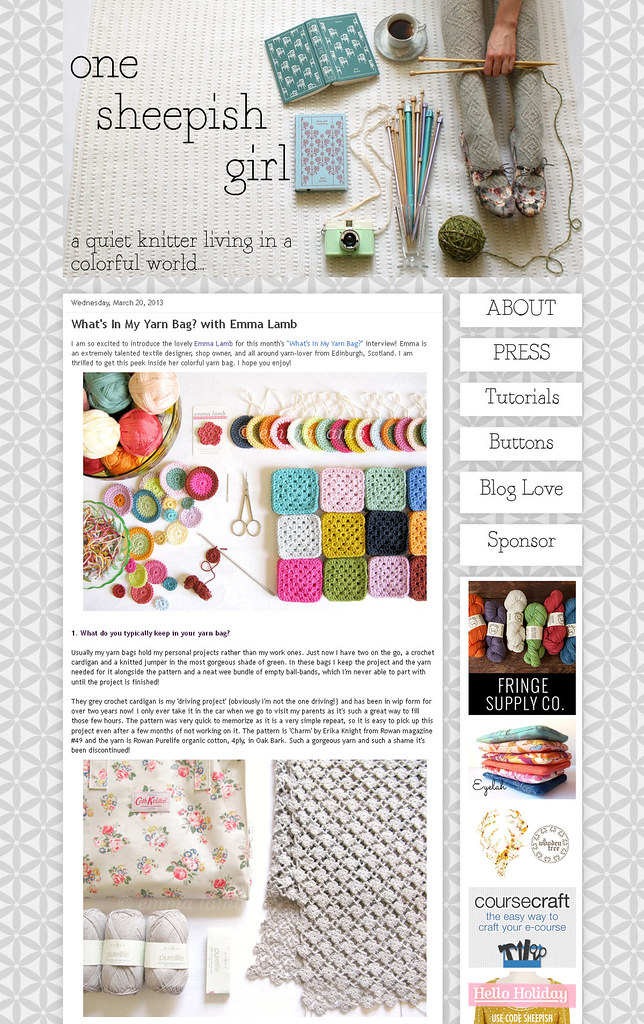 My 'What's In My Yarn Bag?' interview over at One Sheepish Girl