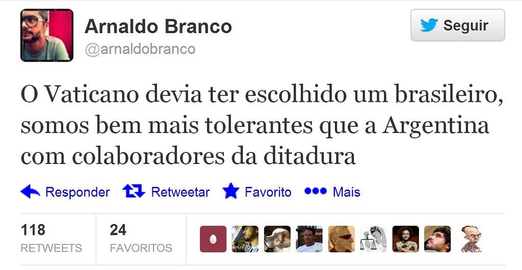 Papa brasileiro - twitada de Arnaldo Branco
