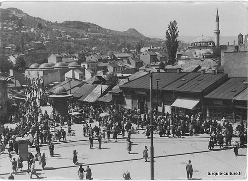 Sarajevo, Bascarsija, l'ancien marché turc, carte postale envoyée en 1957