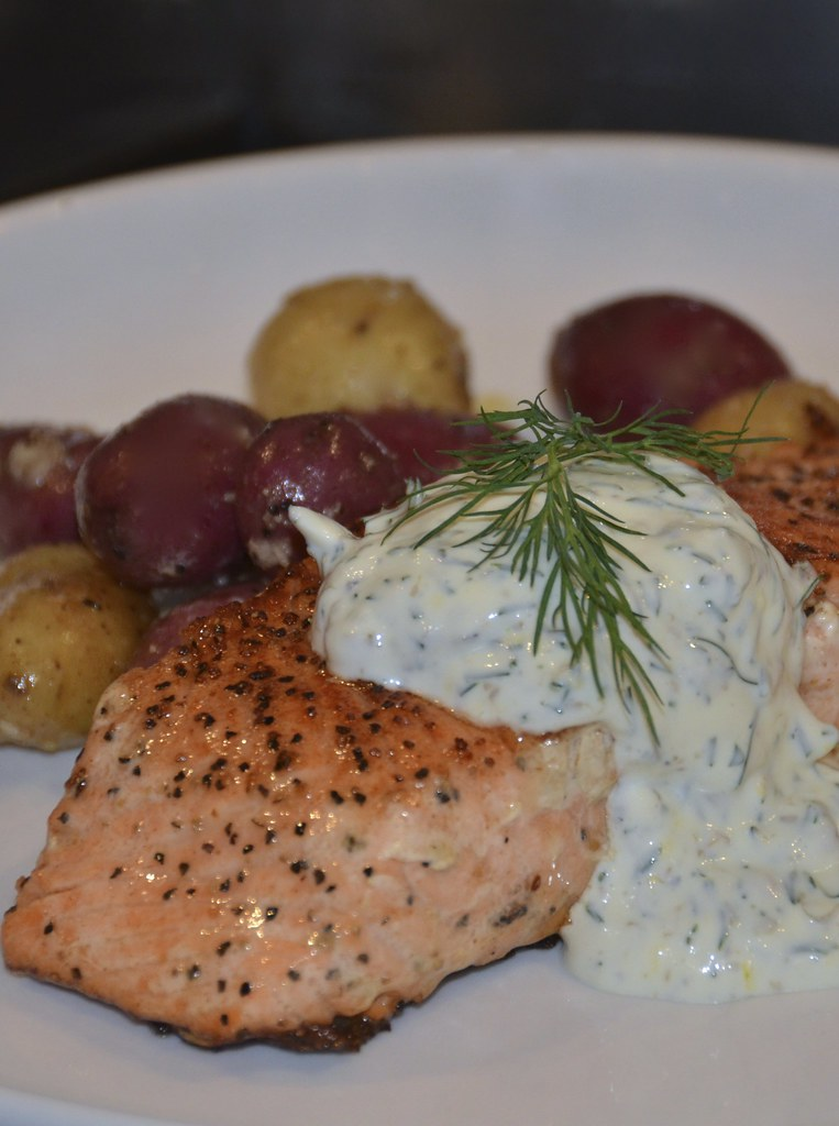 Salmon with Lemon Dill Caper Sauce