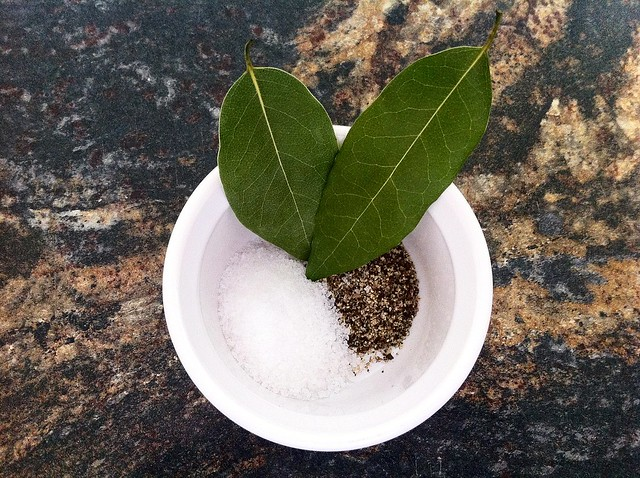 Spices Measured with Bay Leaves