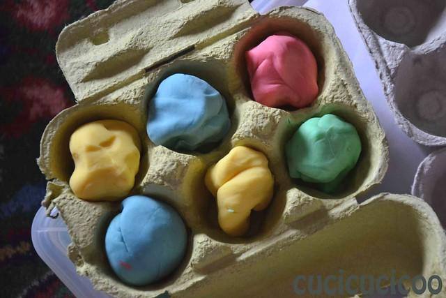 handmade play doh in egg cartons