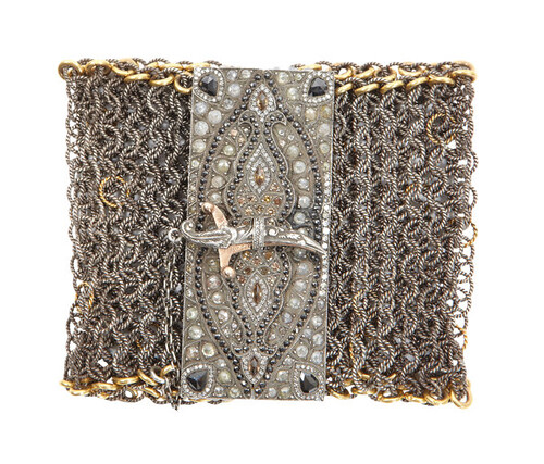 wide mesh bracelet with diamond dagger closure