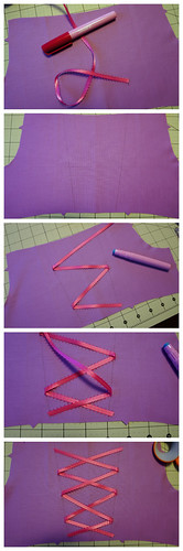 Rapunzel Bodice Ribbon Application
