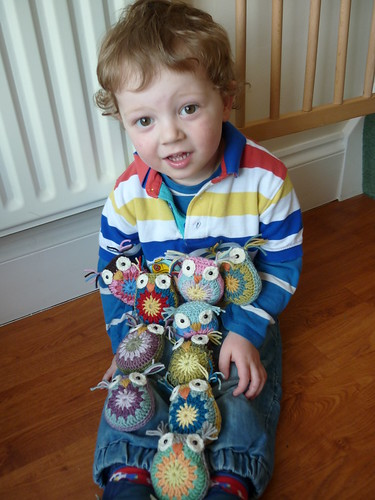 Crochet Owls and Thomas
