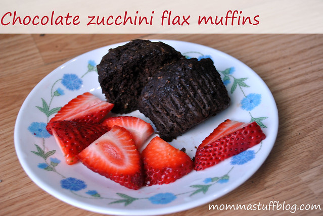 Chocolate Zucchini Flax Muffins