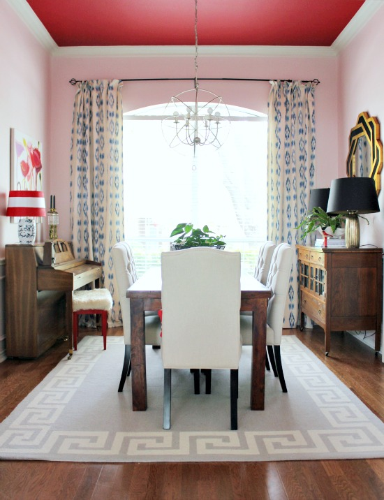 Hi Sugarplum | Pink Walls & Red Ceiling Dining Room