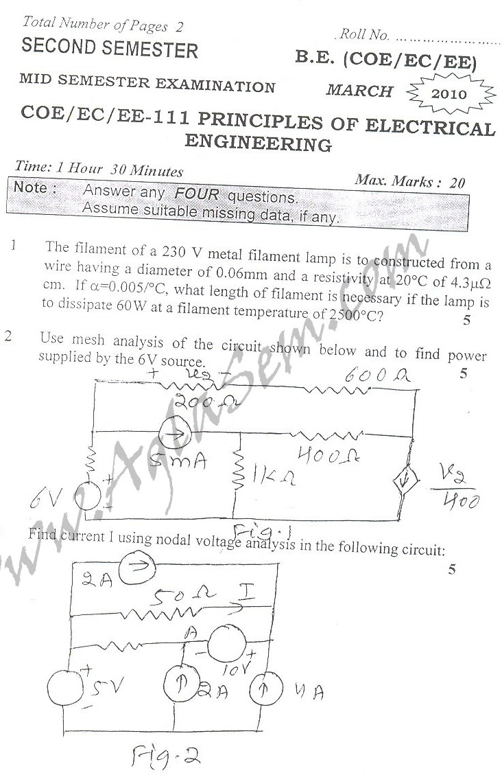 DTU Question Papers 2010 – 2 Semester - Mid Sem - COE-EC-EE-111