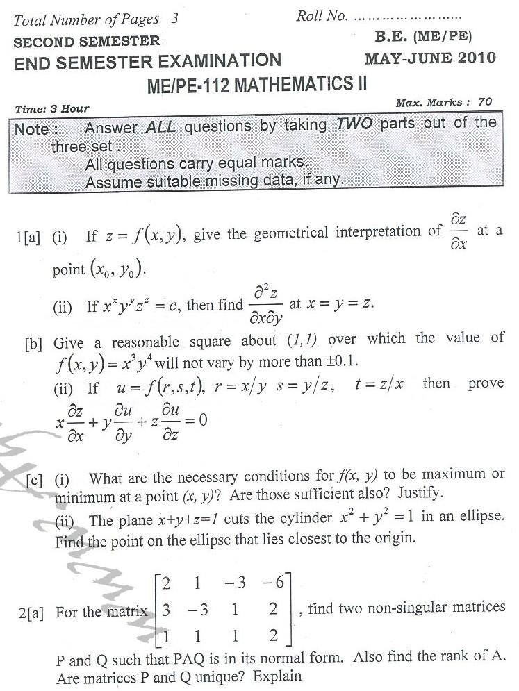 DTU Question Papers 2010 – 2 Semester - End Sem - ME-PE-112