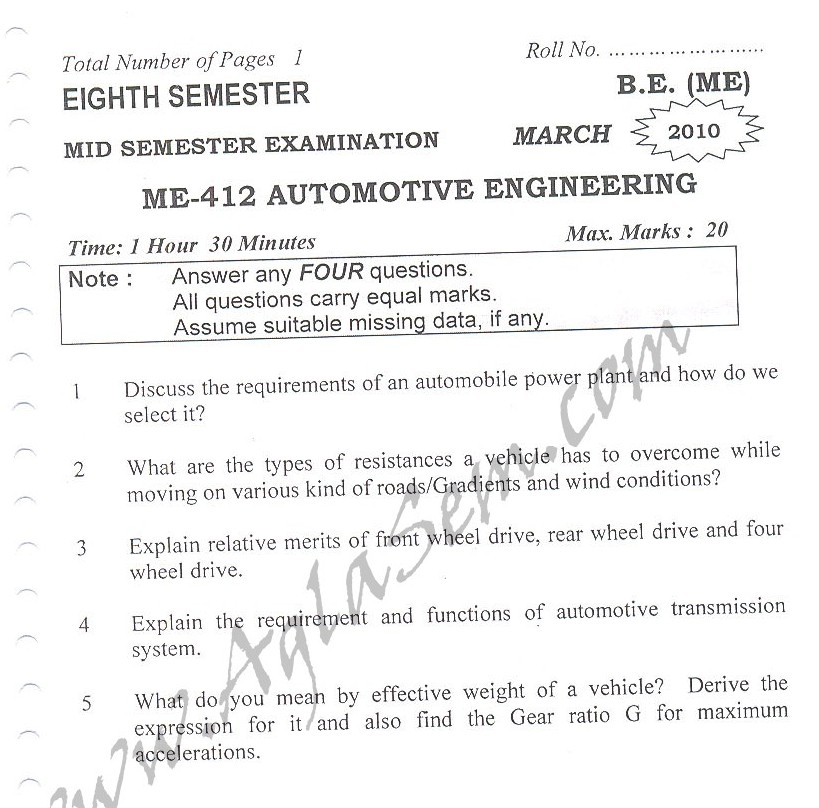 DTU Question Papers 2010 – 8 Semester - Mid Sem - ME-412
