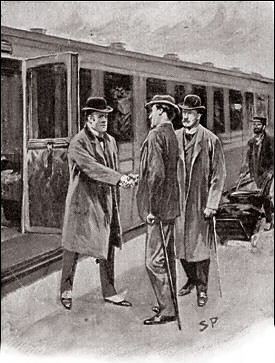 Inspector Lestrade Arrives to Meet Holmes and Watson by Sidney Paget
