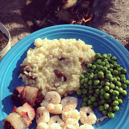 Creamy risotto, buttery peas, garlicky shrimp, bacon wrapped dates and a campfire.