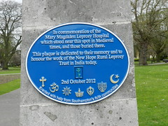 Photo of Mary Magdalen Leprosy Hospital blue plaque