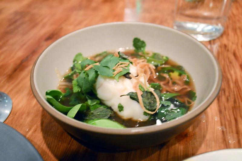Monkfish, pho fumet, herbs, lime, bok choy