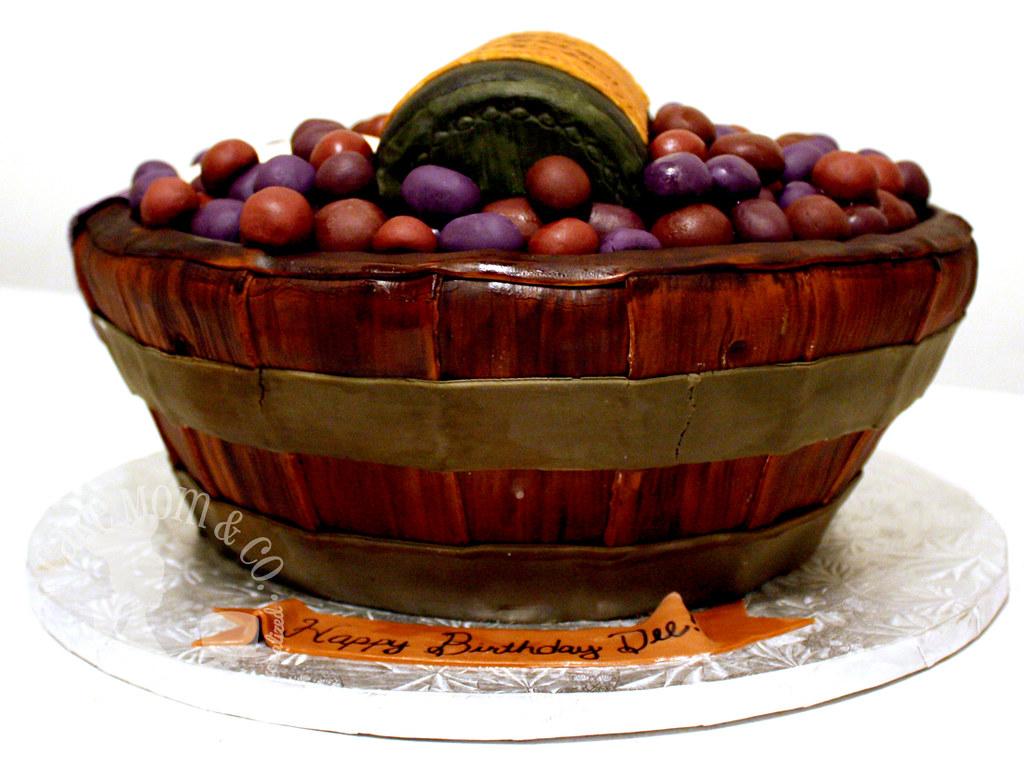 Wine Basket 50th Birthday Cake