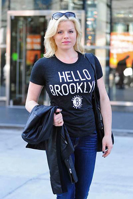 Megan Hilty in Sportiqe Hello Brooklyn Shirt