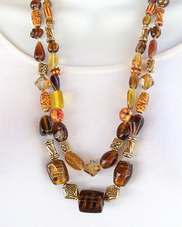 Necklace wire crochet amber gold 042613-003