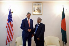 U.S. Secretary of State John Kerry shakes hands with Bangladeshi Foreign Minister Mahmood Ali before a working lunch on August 29, 2016, at Padma House in Dhaka, Bangladesh. [State Department Photo/ Public Domain]