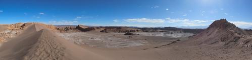 Le désert d'Atacama: vue sur l'Amphitéatre depuis le sommet de la Duna Mayor (Valle de la Luna)