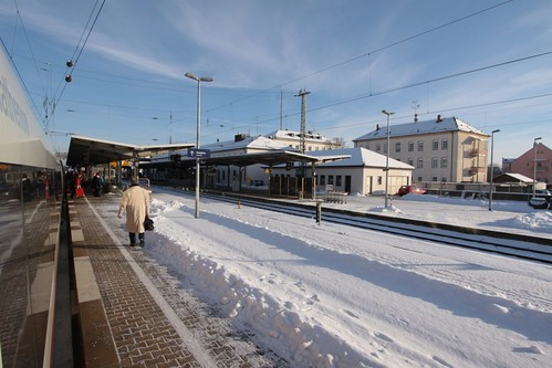 Dropping off passengers at a snow covered Plattling station