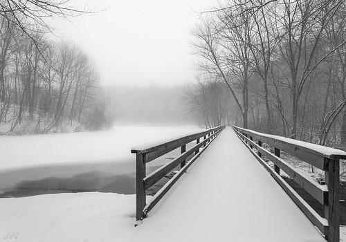 park bridge trees winter blackandwhite mist lake snow storm cold ice nature canon nemo connecticut freezing wideangle blizzard frigid noreaster greathollowlake 5dmarkii monroeconnecticut jackwassell