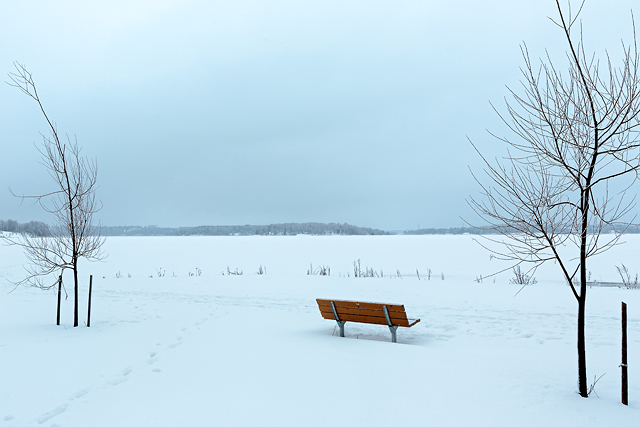A lonely bench stands in the middle of snowy landscape in Helsinki