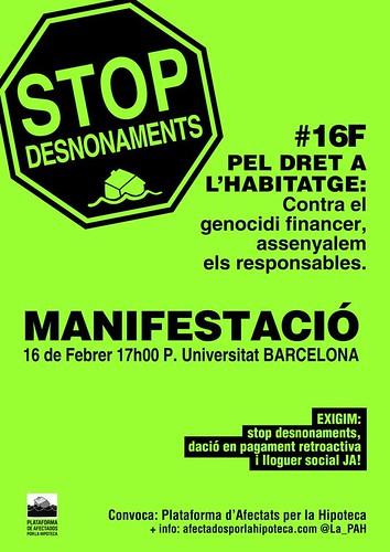 Cartell Manifestació pel dret a l´habitatge: contra el genocidi financer,assenyalem els responsables #16f a Barcelona
