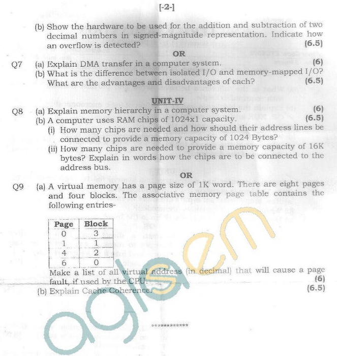 GGSIPU Question Papers Fifth Semester – end Term 2011 – ETCS-305
