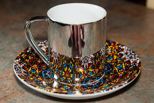 Hirst's Anamorphic Cup and Saucer and hand reflection - #50/365 by PJMixer