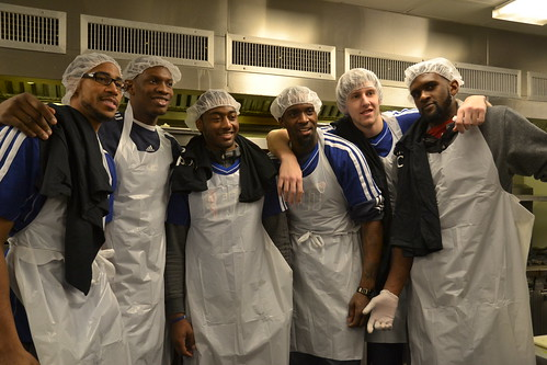 Washington Wizards Garrett Temple, Kevin Seraphin, John Wall, Martell Webster, Jan Vesely and Chris Singleton spent the afternoon prepping meals for DC-area agencies that serve the needy and homeless.