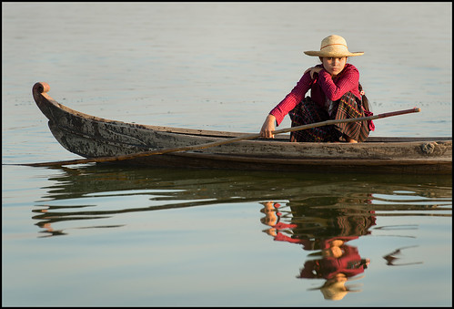 bridge portrait woman lake reflection water colors girl hat reflecting boat nikon asia southeastasia colours dress burma paddle skirt clothes explore myanmar nationalgeographic amarapura ubeinbridge ubein explored laketaungthaman afs70200mmf28gvrii mandalayregion d800e