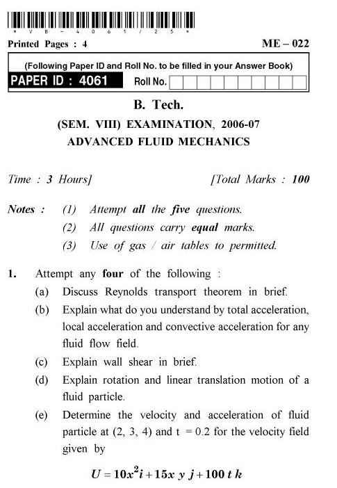 UPTU B.Tech Question Papers - ME-022 - Advanced Fluid Mechanics